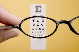 glasses held up to eye chart